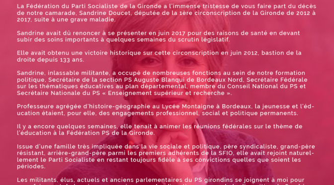 Décès de notre camarade, Sandrine Doucet